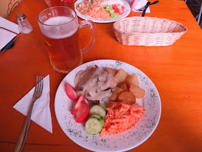 Photo: Roast pork with potatoes, cole slaw, and cucumbers & tomatoes at Bufet