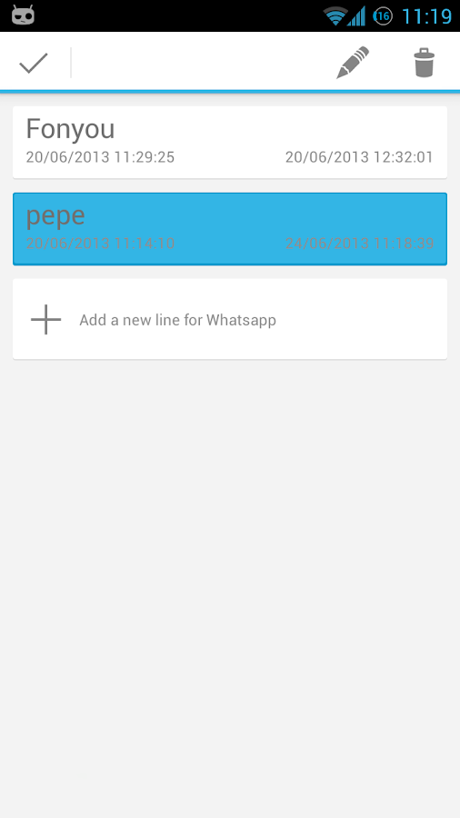 2Lines for WhatsApp- screenshot
