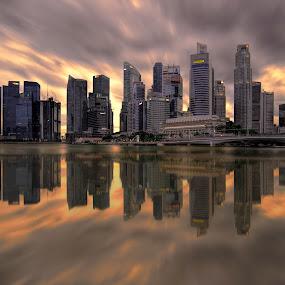 by Gordon Koh - City,  Street & Park  Skylines ( clouds, shenton way, skyline, riverfront, cityscape, travel, singapore, city, financial district, skyscraper, sunset, jubliee bridge, buildings, asia, long exposure, waterfront,  )