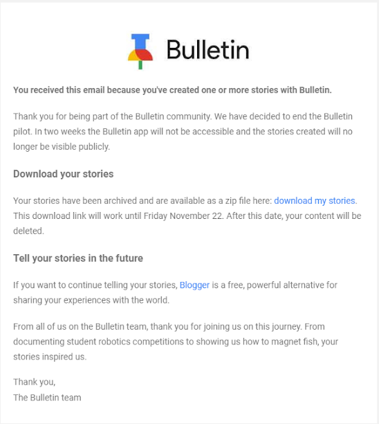 Google's hyperlocal news app Bulletin service is dead.