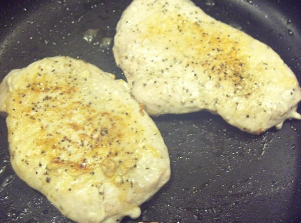 Brown chops in large frying pan. Remove chops from pan, and trim off any...