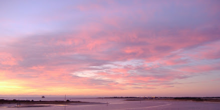 Photo: Sunrise, Fort Macon and lights of the Coast Guard Station