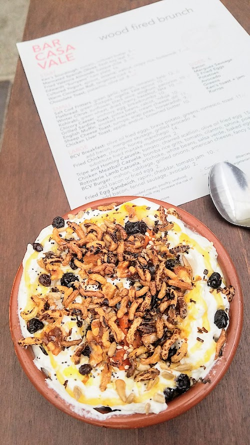 Bar Casa Vale Brunch: The Bar Casa Vale Cultured Yogurt includes a layer of buttermilk that makes it incredibly light and creamy, almost like a whipped cream. But it also benefits from great texture interest from apricot, puffed rice, seeds and nuts sprinkled on top.