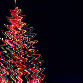 Backyard Electric Tree by Liz Pascal - Digital Art Things ( zig zag, colored lighting, outdoor christmas tree, long exposure, electric metal trees,  )