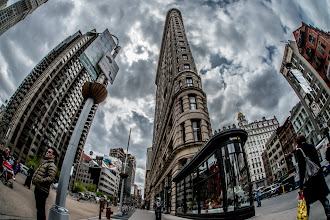 Photo: A shot of the Flatiron Building and nearby area taken with the D800 and the Sigma 15mm fisheye lens. All processing done in Lightroom 4. For this shot, I pushed the clarity to 100 to give the image an HDR/tonemapped look and I also pushed the Luminance noise reduction slider to 100 to artificially smooth everything and give the image a sort of plastic look.  For an interesting read on the history of the Flatiron Building (originally the Fuller Building) I highly recommend the book 'The Flatiron: The New York Landmark and the Incomparable City That Arose with It' by Alice Sparberg Alexiou  #breakfastclub curated by +Stuart Williams