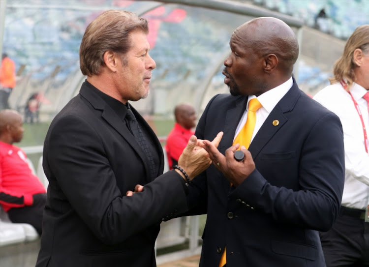 Free State Stars head coach Luc Eymael (L) has rubbished reports linking him with the coaching job at Kaizer Chiefs, which is currently being held by embattled Steve Komphela (R).