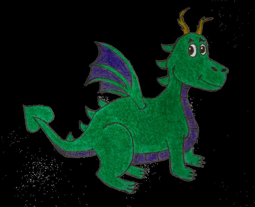 Dragon, Green, Blue, Draw,