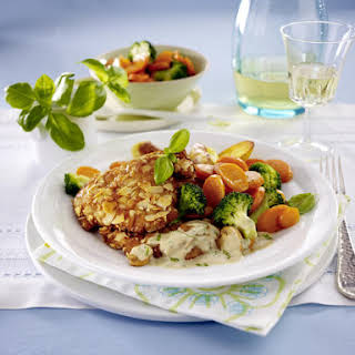 Almond-Crusted Pork Cutlets with Mushroom Sauce.