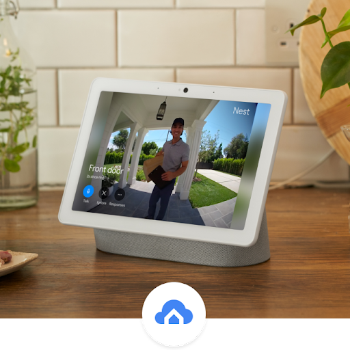 A Nest Hub display shows an image of a delivery person at the door, holding a package.