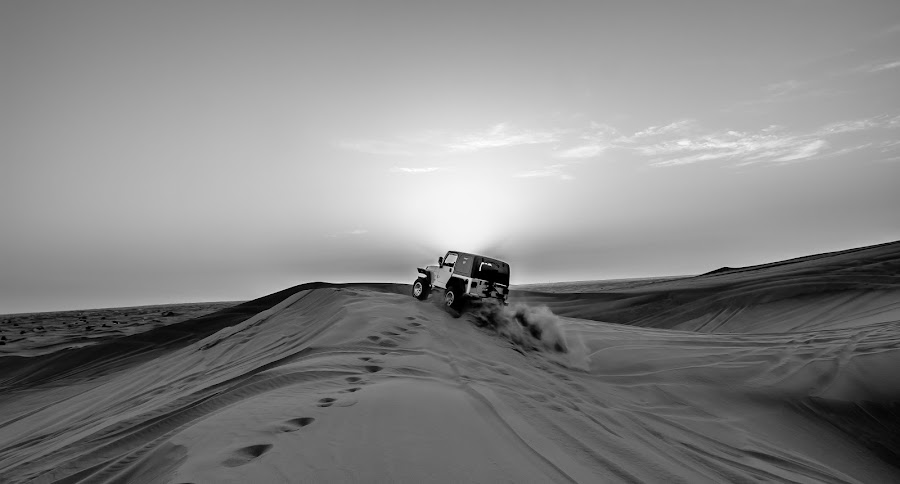Desert Ride by Ahsan Khan - Landscapes Deserts ( desert, dubai, jeep, dune, uae, travel, ahsan, black and white, b and w, landscape, b&w, monotone, mono-tone )