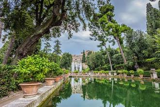 Photo: The Fishing Ponds (Peschiere) and the Fountain of Neptune (Fontana di Nettuno) with the Organ Fountain (Fontana dell'Organo) above in Villa d'Este in Tivoli, Lazio, Italy