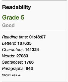 Hemingway Apps readability score