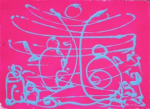 """Photo: """"Musica"""". Bombe et acrylique sur médium. 44x32cm. format horizontal."""