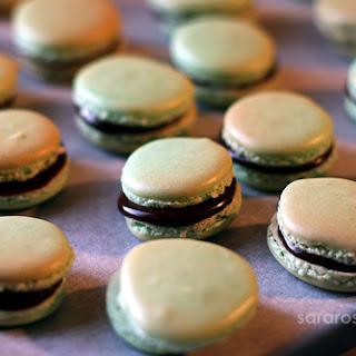 Dark Mint Chocolate French Macarons