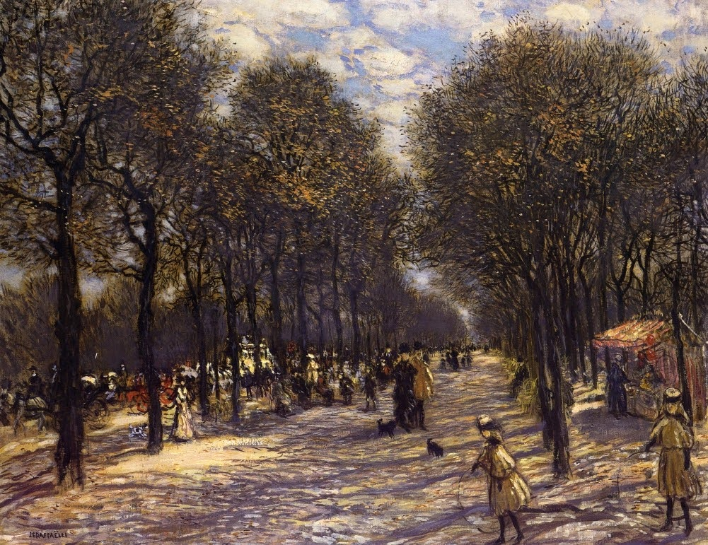 Lane of Trees on the Champs-Elysees by Jean-François Raffaëlli - circa 1893.