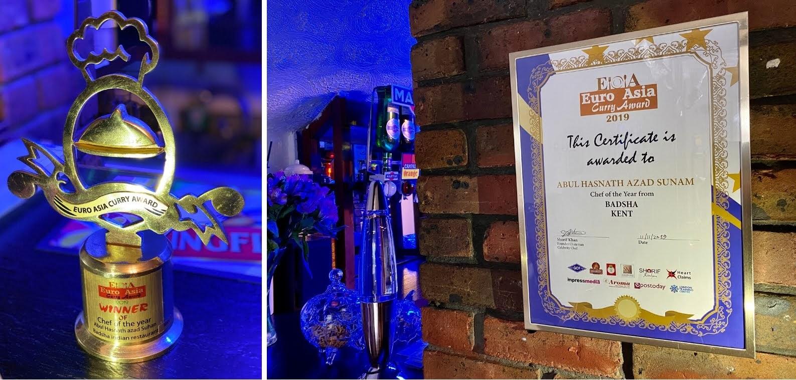 Winner Euro Asia Curry Award, Best Chef of the Year 2019, Badsha Indian Restaurant Tenterden
