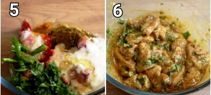 step by step collage of marinating the chicken
