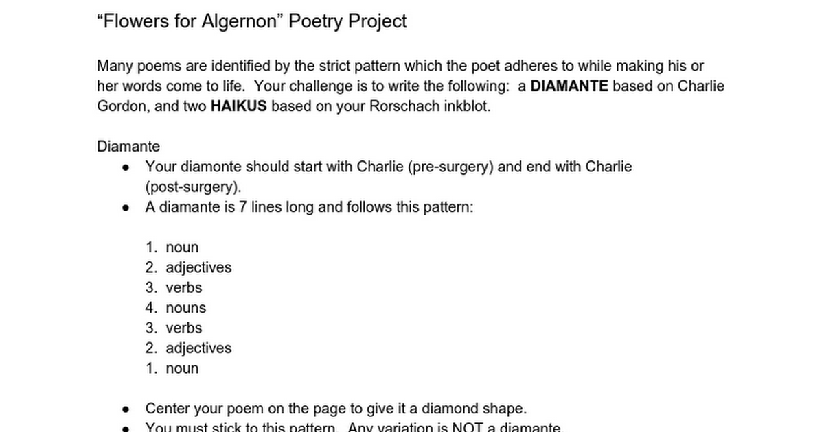 """Flowers for Algernon"" Poetry Project - Google Docs"