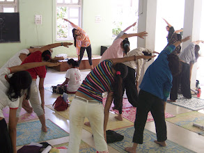 Photo: 1 Month YTT Course - Batch of May 2008 - Jeenal Mehta conducting Asana's Class (students performing Konasana II).