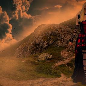 Alone Girl... by Ilkgul Caylak - Digital Art Things ( sky, dramatic sky, amazing, awesome, beautiful, woman, cool, tree, dramatic, clouds, girl, nice )