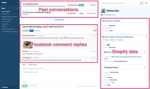 Facebook comments and Instagram comments