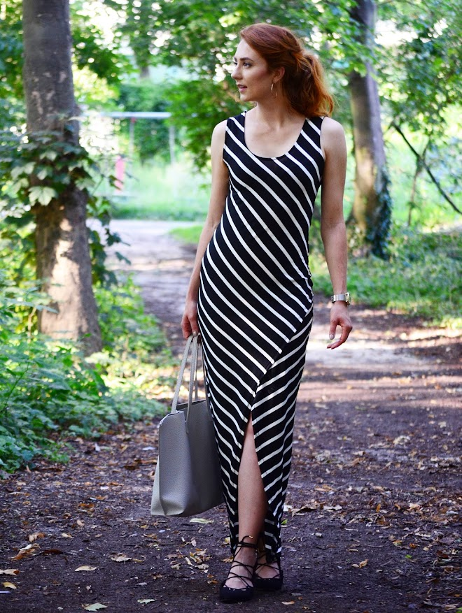 striped maxi dress hoops ginger hair
