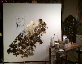 Photo: Split Mask, in-process, Brenda Clews, 5'x5', mixed media on canvas.