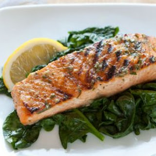 Grilled Salmon with Basil Lemon Butter.