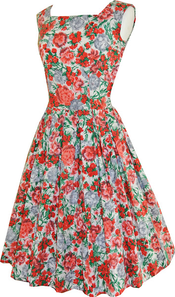 Photo: Polished cotton carnation print 1950's frock