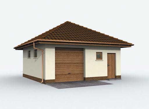 projekt G74 szkielet drewniany garaż jednostanowiskowy z pomieszczeniem gospodarczym