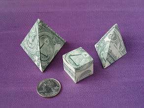 Photo: Model: Tetrahedron, Cube, Diamond;  Three different 3D shapes;  Creator: John Montroll;  Folder: William Sattler;  1 dollar each;  Publication: Dollar Bill Origami (John Montroll) ISBN 0-486-42982-2