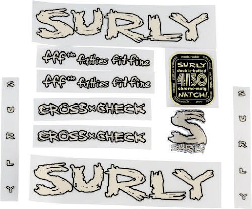 Surly Cross Check Frame Decal Set w/Headbadge - MilkFat