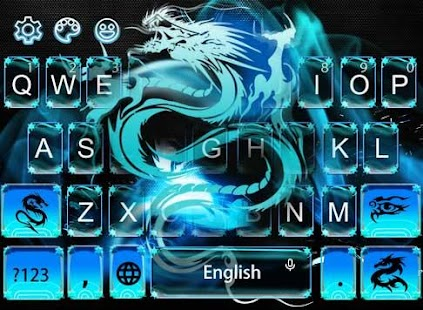 Neon Blue Dragon Keyboard - náhled