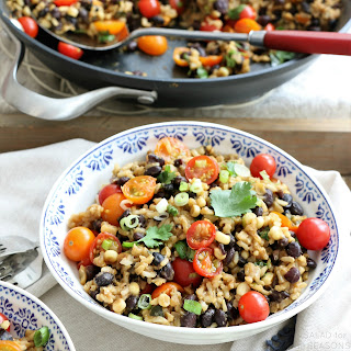 Skillet Black Beans & Rice with Fresh Summer Veggies