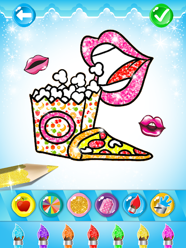 Glitter Lips with Makeup Brush Set coloring Game screenshot 11