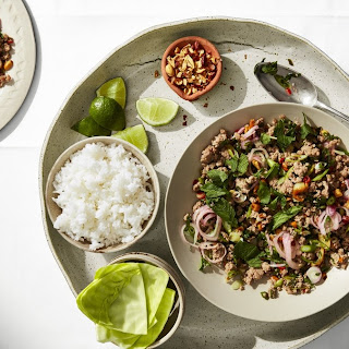 Spicy Larb with Cabbage Cups.