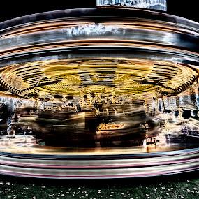 Magic Roundabout by David Feuerhelm - City,  Street & Park  Amusement Parks ( solarisation, blur, roundabout, colours, slow shutter )