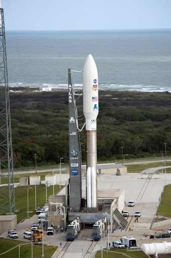 The United Launch Alliance Atlas V rocket arrives on the launch pad at Space Launch Complex-41 situated near the Atlantic Ocean.