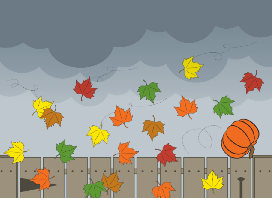 One orange pumpkin rolls along a wooden fence. A bunch of leaves blow in the wind. They are all the same size and shape. Some leaves are yellow. 1, 2, 3, 4, 5. That's the same number as orange leaves. We count 3 brown leaves and 3 red leaves. 1, 2, 3, 4--4 green leaves.
