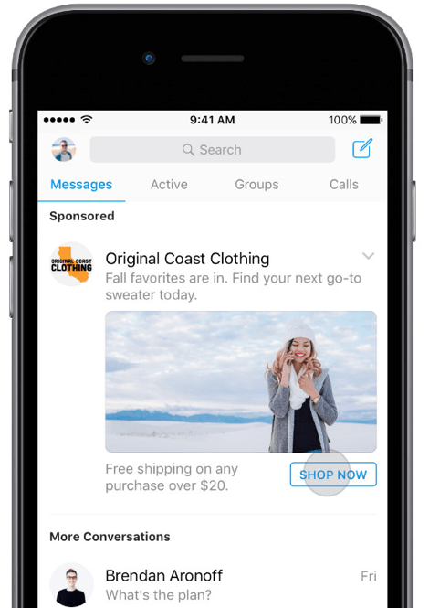 """Facebook Messenger Ads: Another variation here is the """"Messenger Home Ad"""