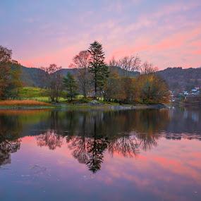 Stendavatnet by Espen Rune Grimseid - Landscapes Waterscapes ( stendavatnet, fana, sunrise, reflections, waterscape, nature, norway, autumn, lake, bergen, landscape, canon )