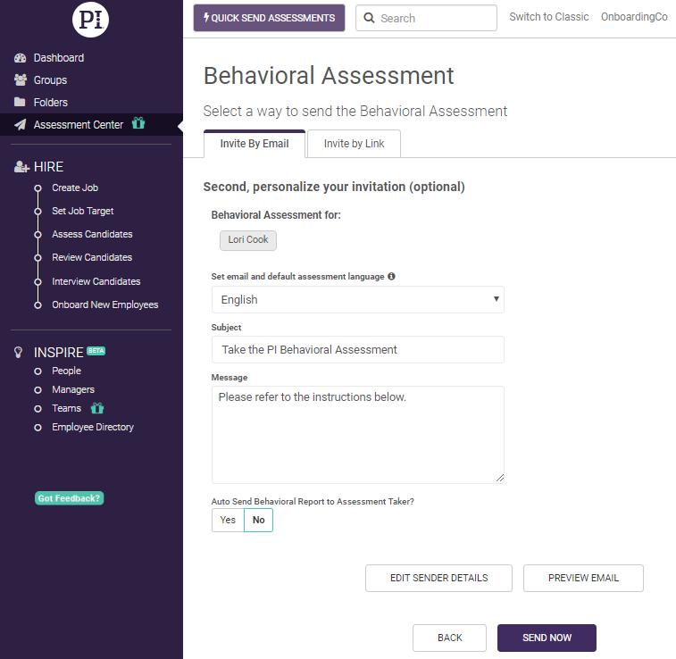 Sending Assessments Via The Assessment Center