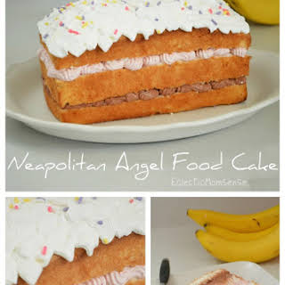 Neapolitan Angel Food Cake with Cool Whip Frosting.