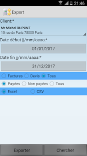 Application de devis-facture Capture d'écran