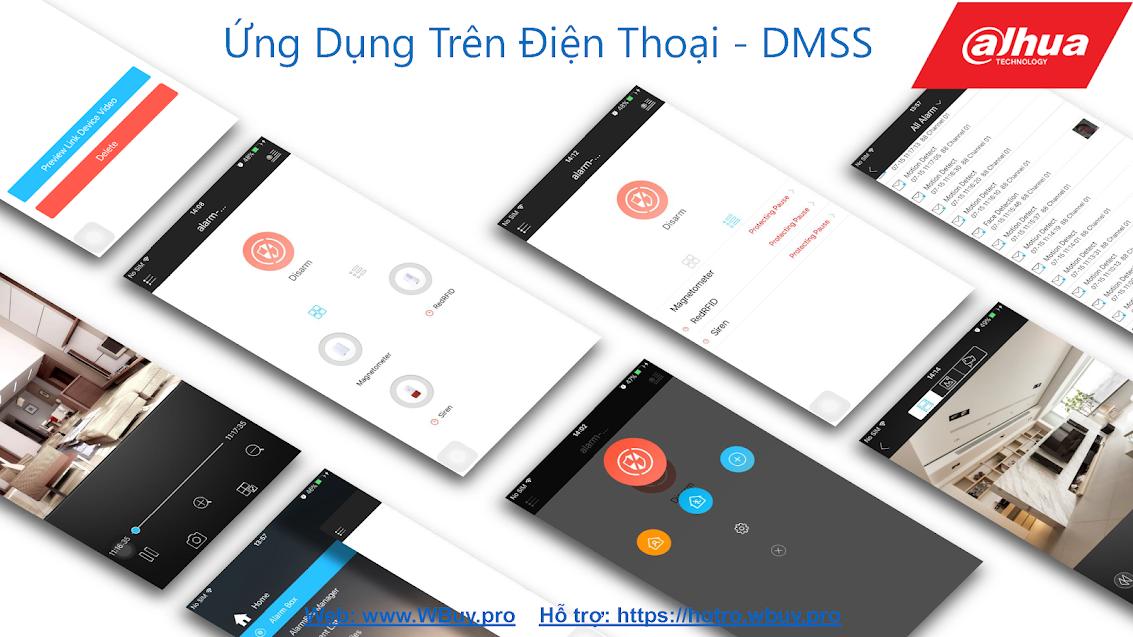 Ứng dụng DMSS trên điện thoại, giúp quản lý toàn bộ thiết bị báo động không dây của Dahua