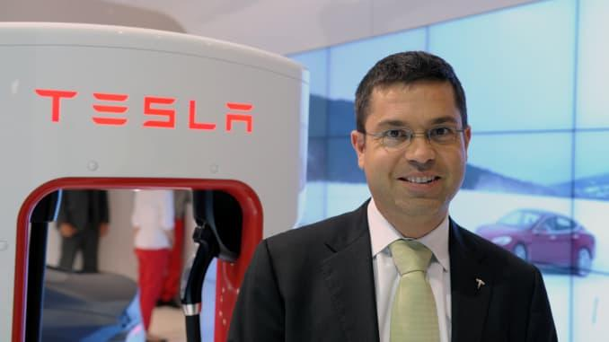 US electric car maker Tesla Vice President Jerome Guillen poses at the Paris Auto Show on the last press day on October 3, 2014. The Paris Auto show opens to the public on Saturday.