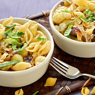 Pasta with Roasted Cauliflower and Brussels Sprouts