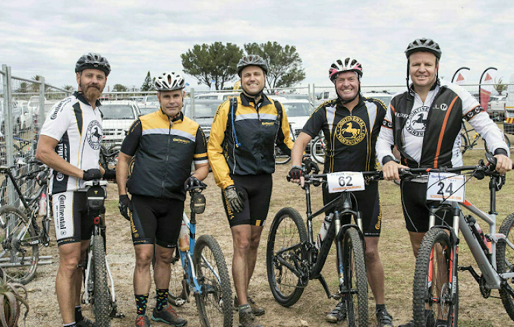 Showcasing a competitive edge at this year's Team Relay Challenge were Continental Tyre SA team riders, from left, Anton Verwey, Ian Langlands, Austin Brett, Trevor Gascoyne and Clint Henderson. Continental Tyre SA looks forward to battling it out at the third edition of the Team Relay race next year
