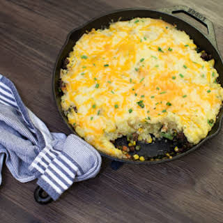 Skillet Shepherd's Pie with Cauliflower Mashed Potatoes.