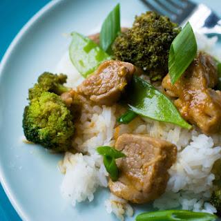 Orange Pork Tenderloin Stir Fry with Broccoli and Pea Pods Recipe